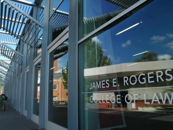 Facade of a modern building with writing: James E. Rogers College of Law