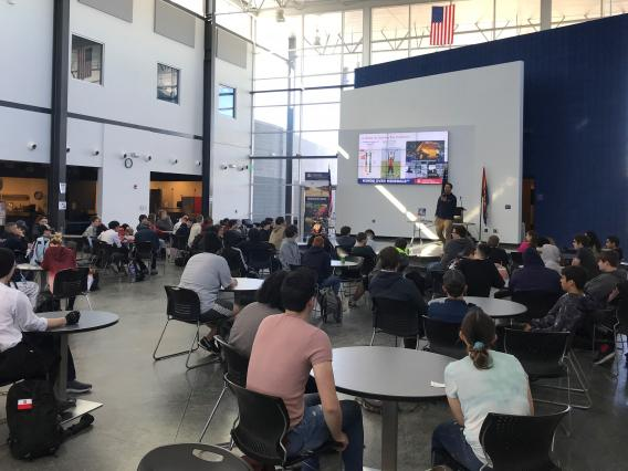 Presenting to high school students about UArizona degrees.