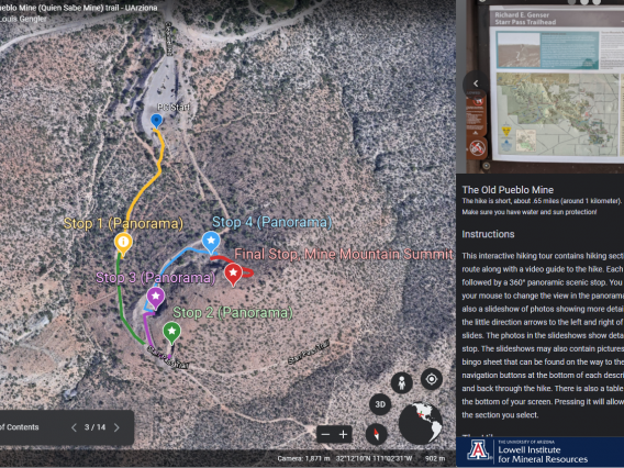 Screen shot of the Google Earth Virtual Hiking Tour of the Old Pueblo Mine near Starr Pass trailhead