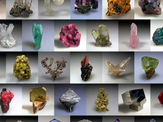 A collage of many different minerals of different sizes and shapes.