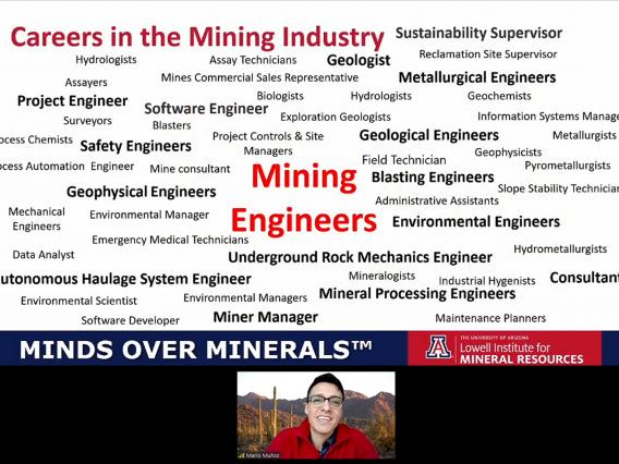 A slide during a virtual meeting showing a list of different careers in the mining industry, below the slide a smiling man is looking at the camera.