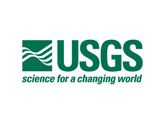 """The green and white logo for the United States Geological Survey(USGS) with the slogan """"Science for a changing world."""""""
