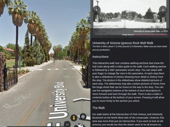 A view east through the University of Arizona Main Gate on the left. A description of the history of the wall on the right.