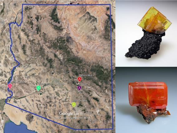 On the left is a satellite photo of the state of Arizona with the locations of six mines marked. In the upper right is a square, yellow wulfenite crystal on a black mineral. In the lower right is a rectangular, carmine red wulfenite crystal.