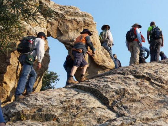 A group of students on a geological field trip