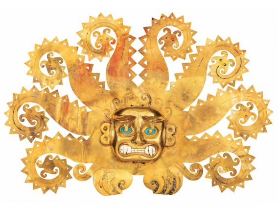 Forehead Ornament with Feline Head and Octopus Tentacles, 100-800 A.D., Peru