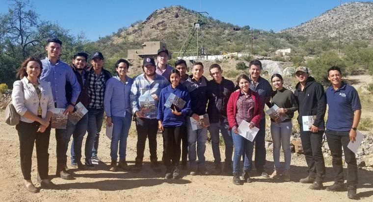 Group of La Salle students in front of San Xavier mine