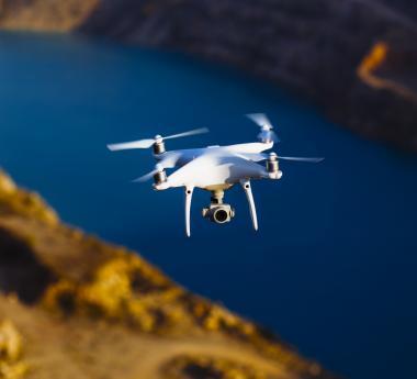 Drone scanning a mine