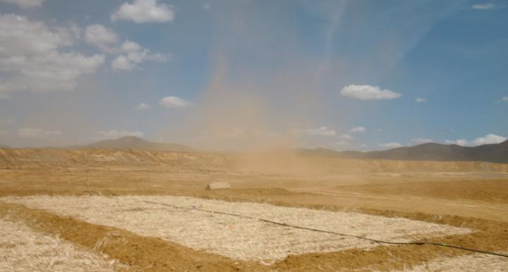Dust blowing from a tailings site